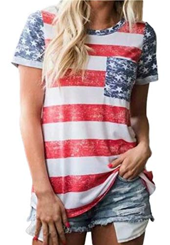 4th Of July Tees - Women's American Flag T Shirt 4th of July Patriotic USA Flag Shirts Stars Stripe Casual Tees Tops Size XL (Stripe)