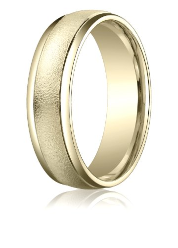 Mens 14K Yellow Gold, 6mm Comfort Wired-Finished Polished Round Edge Band (sz 15)