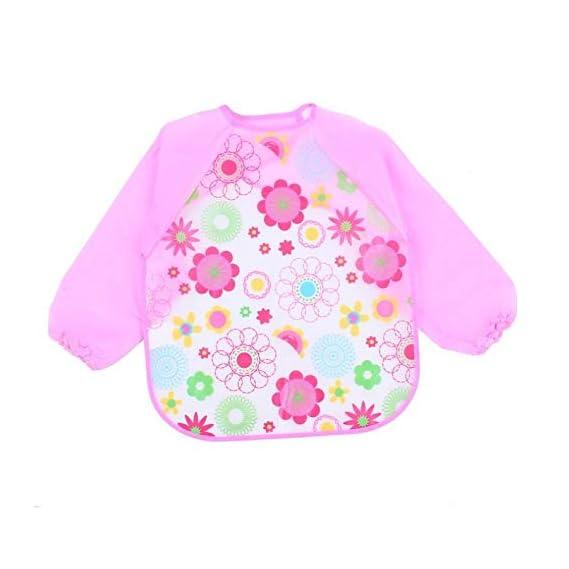 FOK Full Sleeves Washable Waterproof Bib for Babies and Kids - Pink, Set of 1