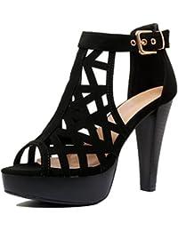 Womens Cutout Gladiator Ankle Strap Platform Fashion High Heel Sandals Heeled Sandals, Blackv3 Pu, 8 B(M) US