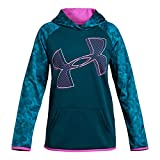 Under Armour Girls Armour Fleece Hoodie Printed Logo, Techno Teal (489)/White, Youth Large
