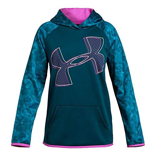 - Under Armour Girls Armour Fleece Hoodie Printed Logo, Techno Teal (489)/White, Youth Large