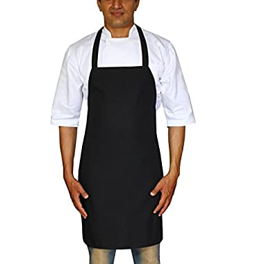 Bistro-Garden-Craftsmen Professional Bib Apron (Black, Set of 2) - Durable, Comfortable, Easy Care, Restaurant Commercial Waitress Waiter Aprons -32  x 28  by Utopia Wear