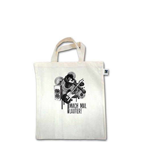 Statement Shirts - Mach mal lauter! - Unisize - Natural - XT500 - Fairtrade Henkeltasche / Jutebeutel mit kurzen Henkeln aus Bio-Baumwolle
