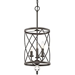 "Kira Home Eleanor 13"" 3-Light Foyer Light Chandelier + Metal Shade, Oil-Rubbed Bronze Finish (Contains Minimal Blemishes/Inconsistencies)"
