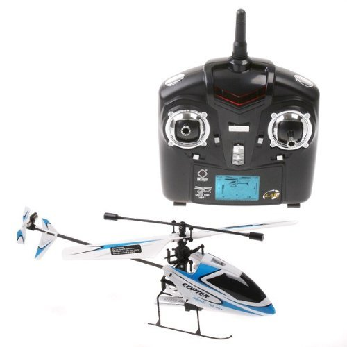 WL 4CH 2.4GHz Mini Radio Single Propeller RC Helicopter Gyro V911 RTF White&Blue ()