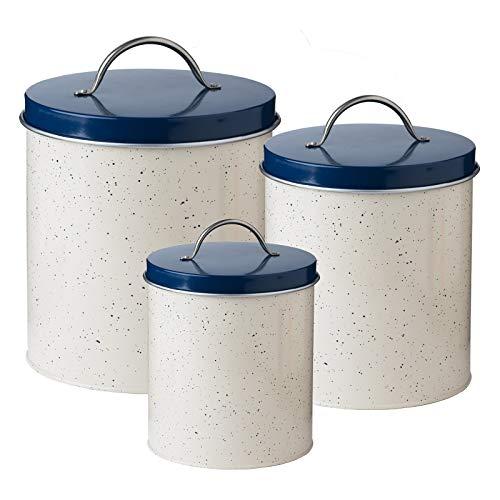 Speckled Cream and Navy Milk Street - Metal Canister Storage Jars, Set of 3-122 oz, 76 oz, 45 oz. ()