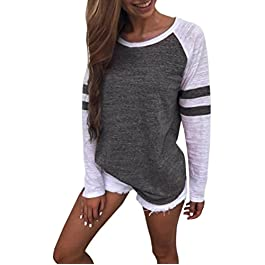 Toamen Women's Simple Casual Autumn Loose Round Neck Long Sleeve Tops Blouse Jumper T-Shirt