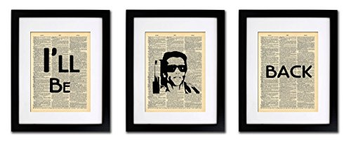 Terminator Wall - Terminator I'll Be Back Quote - 3 Print Set - Vintage Dictionary Print 8x10 inch Home Vintage Art Abstract Prints Wall Art for Home Decor Wall Decorations For Living Room Bedroom Office Ready-to-Frame