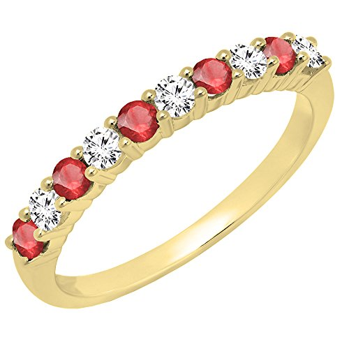 - 14K Yellow Gold Round Ruby & White Diamond Ladies Stackable Wedding Band (Size 8)
