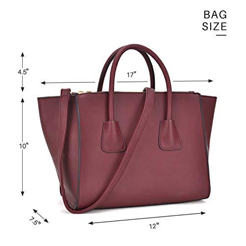 Dasein Women Winged Handbags Designer Shoulder Bag Structured Tote Satchel Purses by Dasein (Image #3)