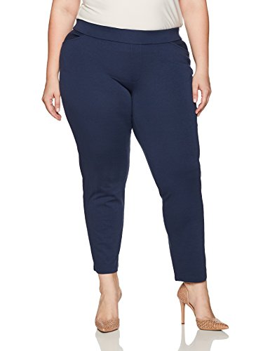 Chic Classic Collection Women's Plus Size Knit Pull-on Pant, Dress Blues, 26A