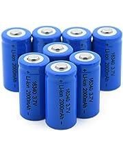 RitzyRose Lithium-ion-accu, 3,7 V, 2000 mAh, 16340, oplaadbaar, voor CR123A CR17345 K123A VL123A DL123A 5018LC 8 stuks