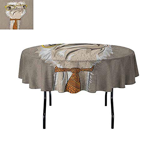 Indie Easy Care Leakproof and Durable Tablecloth Sketch Portrait of Funny Modern Ostrich Bird with Yellow Eyeglasses and Tie Outdoor Picnic D51 Inch Taupe Beige Yellow