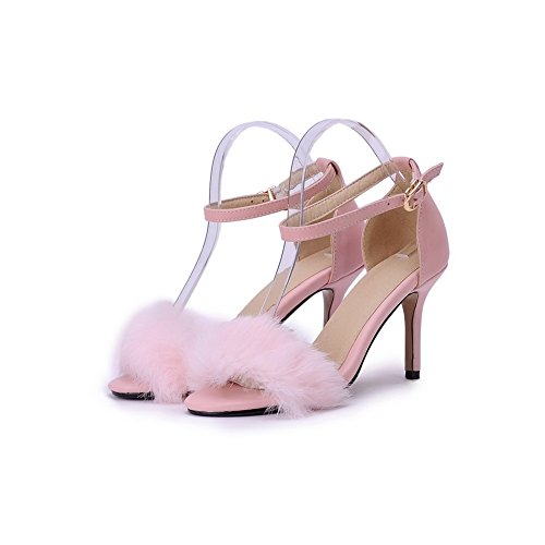 AmoonyFashion Womens Blend Materials Open Toe Spikes Stilettos Buckle Sandals Pink HeXNUCi