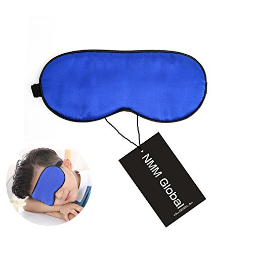 NMM Global 100% Natural Silk Sleep Eye Mask Kids, Cute Night Sleeping Mask with Adjustable Elastic Strap for Girls Boys Child Baby (Blue Small) -