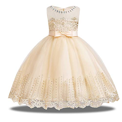 HUANQIUE Girls Pageant Flower Girl Dress Sleeveless Wedding Party Dresses Champagne 4-5 T