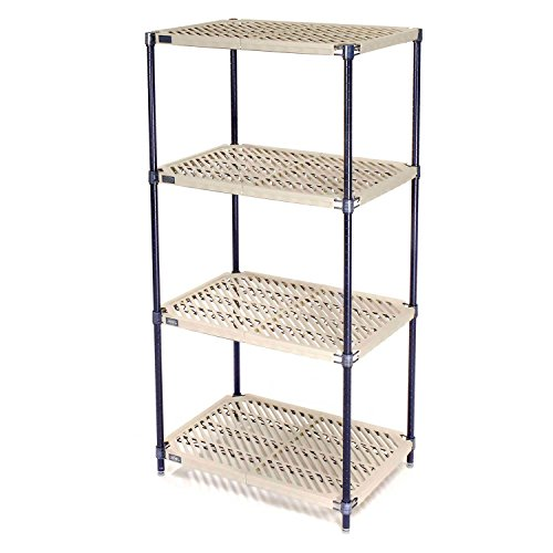 Vented Plastic Shelving, Nexelon Finish, 36x18x74