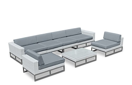 Austin Sectional Sofa (Outdoor Patio Furniture Modern 7 Piece All-Weather Wicker Sofa Sectional Set)