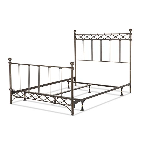 Fashion Bed Group Argyle Complete Metal Bed and Steel Support Frame with Diamond Pattern Top Rail and Double Spindle Castings, Copper Chrome Finish, King ()