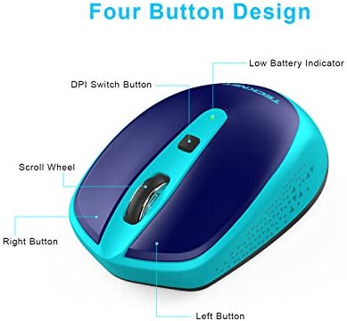TECKNET OMNI SMALL PORTABLE WIRELESS OPTICAL MOUSE WITH USB NANO RECEIVER FOR LAPTOP COMPUTER, 18 MONTH BATTERY LIFE, 3 ADJUSTABLE DPI LEVELS: 2000/1500/1000 DPI