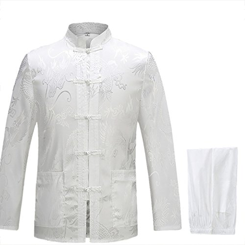 KIKIGOAL Mens Martial Arts Kung Fu Uniform Long Sleeve Tang Suit With Dargon Pattern (XXL, white)