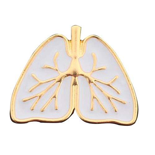 river home Cute Anatomical Heart Brooch Gold White Enamel Anatomy Human Organ Heart Broches and Pins Enamel Pin Medical