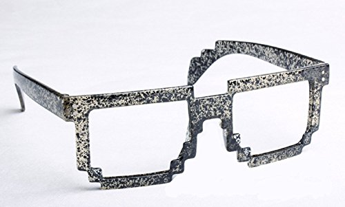 FancyG Retro 8-Bit Pixel Geek Gamer Pixelated Glass Frame Black Dots NO - Geek Glasses Best