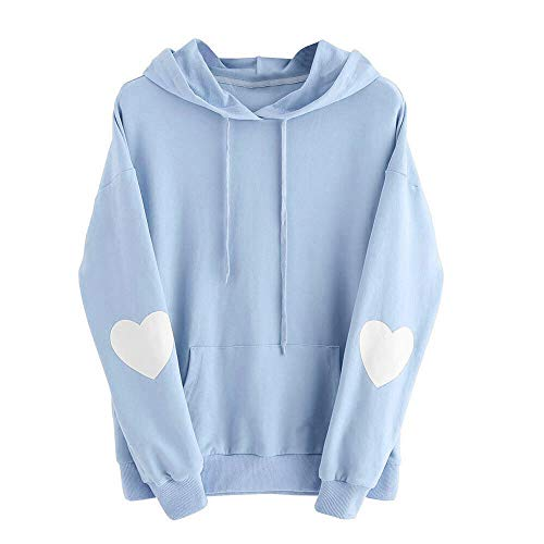 NUWFOR Womens Long Sleeve Heart Hoodie Sweatshirt Jumper Hooded Pullover Tops Blouse(Blue,M)