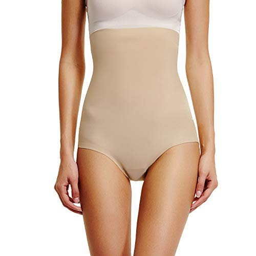 Body Shaping Girdle - High Waist Brief Shapewear for Women Tummy Control Panties Shaping Girdle Body Shape Underwear  (Beige-1, M)