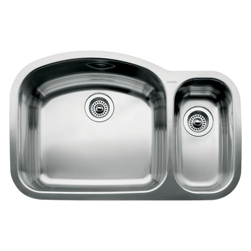 Blanco 440246 Wave 1 1/2 Bowl Undermount Sink, Satin Polished (1 1/2 Bowl Undermount Sink)