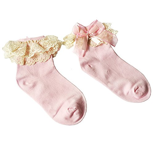 Socks Pink Quarter Ribbon (Gilroy Girls Lace Ruffle Frilly Ankle Princess Cotton Shorts Socks - Pink 4-5 Years)