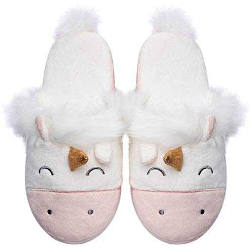 Womens Unicorn Slippers |Cute Funny Slippers for Family| Kids Girls Animal House Shoes (7-8.5, Pink)