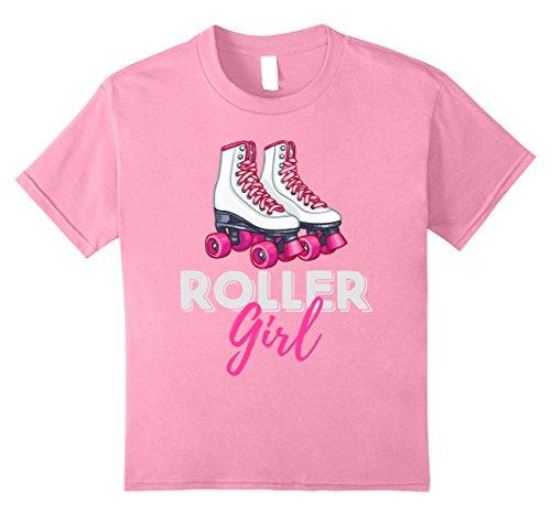 Kids Roller Girl Roller Skates Ice Skating Holidays Novelty Shirt 8 Pink (Roller Girl Outfit)