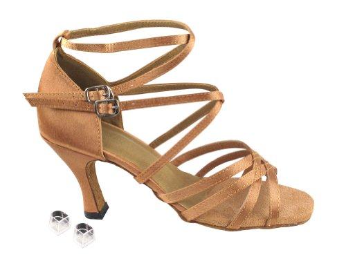Very Fine Ladies Women Ballroom Dance Shoes EK5008 With 3 Heel Brown Satin ChnZjYoq