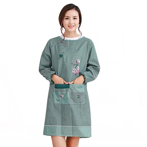 [Iuhan Fashion Women Restaurant Home Kitchen Working Cooking Apron (Green)] (Japanese Maid Cafe Costume)