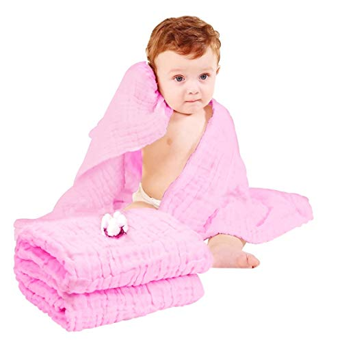 Organic Muslin Baby Towel Cotton Gauze Super Soft Baby Bath Towels 6 Layers Infant Towels Newborn Blanket Suitable for Babys Delicate Skin 40 x 40inches Pink by Moms Love