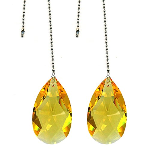 CrystalPlace Ceiling Fan Pull Chain Swarovski Strass Light Topaz Crystal Almond Prism Fan Pulley Set of 2 ()