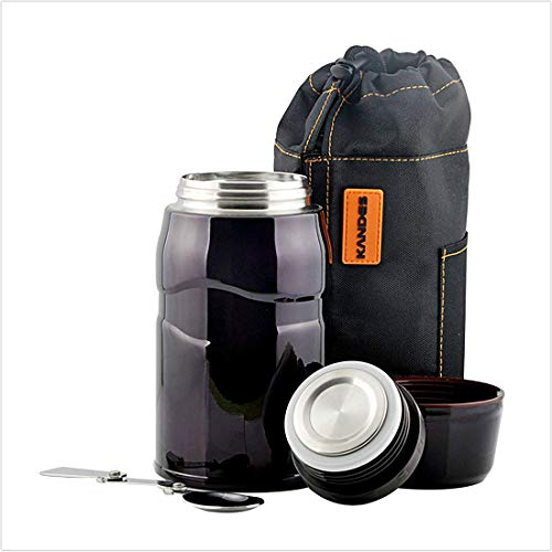 Vacuum Insulated Stainless Steel Food Jar, Double Walled Leak Proof Thermal Food Flask with Folding Spoon, Handbag, Storage Container Cup for Kids for Picnic/Camping/Travel, 25.6oz (violet)