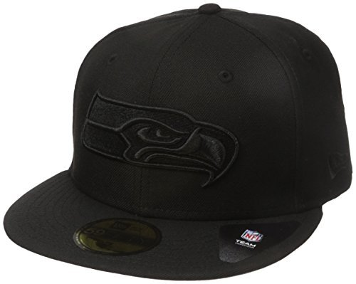 NFL Seattle Seahawks Men's Black On Black 59Fifty Fitted Cap, 7 1/2