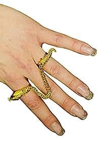 Anillo de serpiente, dos dedos-, el oro y la plata