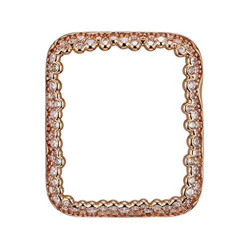 14K Rose Gold Plated Champagne Bubbles Jewelry-Style Apple Watch Case with Cubic Zirconia CZ Border - Small (Fits 38mm iWatch)