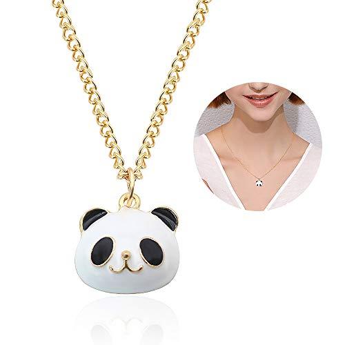 YOOE Cute Animal Little Panda Pendant Necklace.Creative Black White Bear Necklaces Gold Chain Girls Jewelry Birthday Gift (Glod) -