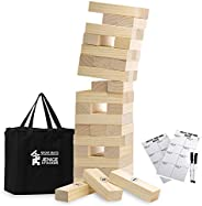 Large Jenge Stacker Tumble Tower Game Wooden Stacking Games Lawn Outdoor Games for Adults and Family - Include