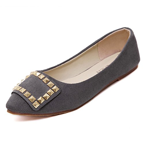T-JULY Womens Ballet Shoes Casual Round Toe Soft Slip on Comfort Flats Gray Vy1ZZ8a