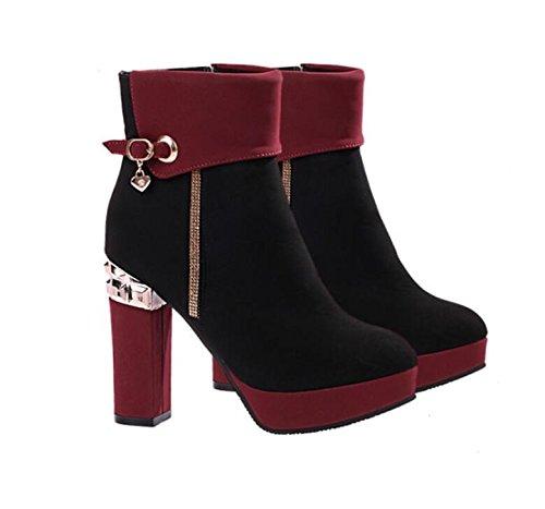 KHSKX-Zapatos De Moda Con Cremallera De Cuero Grueso Redondo Profundo. De Gules Treinta Y Nueve Thirty-nine
