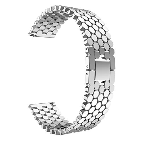 New Visual Fashion Unique Stainless Steel Watch Band Strap Wrist Strap for Huawei Watch GT Sturdy and Durable More Soft and Comfortable (Silver)