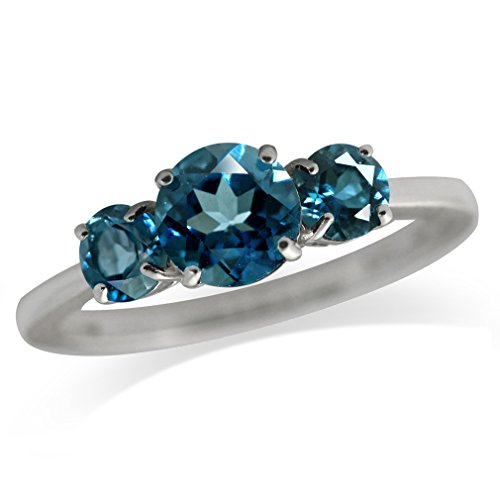 1.57ct. 3-Stone Natural London Blue Topaz 925 Sterling Silver Ring Size 7 3 Stone Vs2 Ring