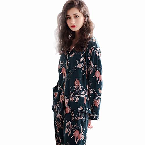 Casual Servicio A Pijamas Blue Size Invierno Algodón Domicilio Traje color Larga Blue M Manga Hq6w86A