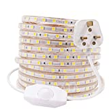 XUNATA 15m Dimmable LED Strip Mains Powered, Warm White SMD 5050 60leds/m IP67 Waterproof Commercial Rope Light with UK Plug, DIY Indoor Outside Decor Ribb
